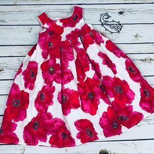 NEXT 3-4 Dress Girls Red Floral Lined